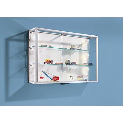 BST Wandvitrine - mit Aluminiumrahmen und 2 Glasfachböden
