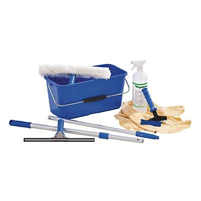 Fensterreinigungs-Set - Einwascher, Abzieher, Eimer - Teleskopstange, Schaber, Glasreiniger