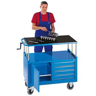 eurokraft montagewagen h henverstellbar 1 schrank mit fachboden 4 schubladen lichtblau. Black Bedroom Furniture Sets. Home Design Ideas