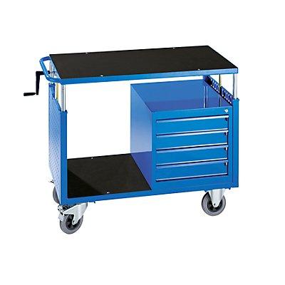EUROKRAFT Montagewagen, höhenverstellbar - 1 Ablageboden, 4 Schubladen - lichtblau