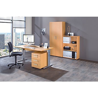 multi bureau complet 1 bureau 1 rayonnage 1 caisson roulant 1 armoire de bureau si ge. Black Bedroom Furniture Sets. Home Design Ideas