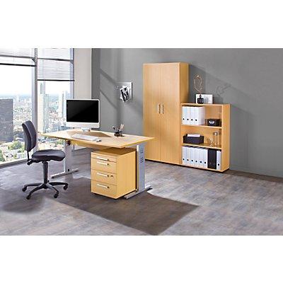 MULTI Komplettbüro - 1 Tisch, 1 Regal, 1 Rollcontainer, 1 Aktenschrank, mit Bürodrehstuhl schwarz
