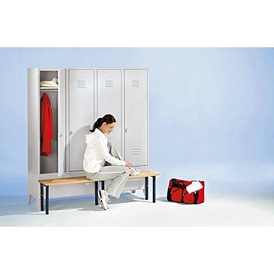 Wolf Kleiderspind mit vorgebauter Bank - Vollwand-Türen, Abteilbreite 300 mm, 4 Abteile