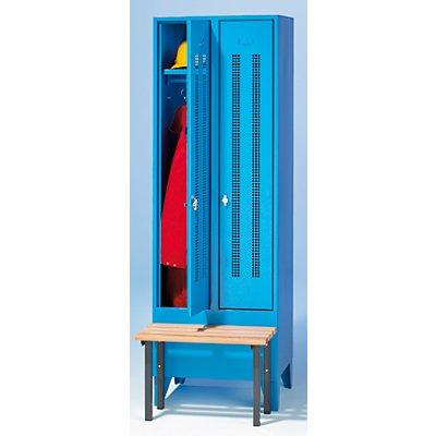 Wolf Kleiderspind mit vorgebauter Bank - Lochblech-Türen, Abteilbreite 300 mm, 2 Abteile