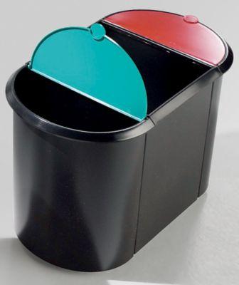 TRIO helit System-Papierkorb - 2 kleine Behälter mit Deckel, 1 großer Behälter ohne Deckel