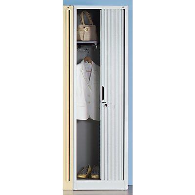 Garderoben-Rollladenschrank - HxBxT 1980 x 600 x 420 mm, 1 Fachboden, 1 Kleiderstange - lichtgrau