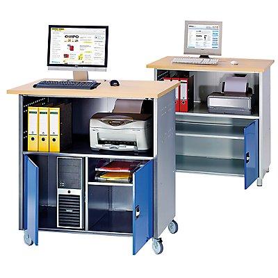 RAU PC-Tisch - mit durchgehendem Fachboden, mit Fahrsatz