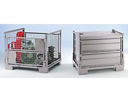 Roll gerbable pliable, L x l x h 1200 x 800 x 970 mm - panneaux latéraux en grillage d'acier, avec écriteau intégré