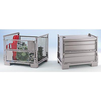 Stapelbox faltbar, LxBxH 1200 x 800 x 970 mm - Seitenwände Stahlgitter, integrierte Beschriftungstafel