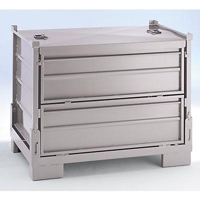 Stapelbox faltbar, LxBxH 1200 x 800 x 970 mm - Seitenwände aus Stahlblech