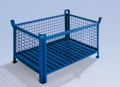 Heson Gitterbehälter mit Stahlblechboden - LxB 800 x 600 mm