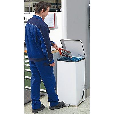 Industrie-Tretabfalleimer aus Stahlblech - pulverbeschichtet, weiß RAL 9016