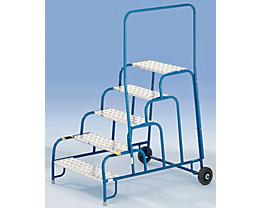 Marchepied de montage de sécurité avec marches en aluminium rainuré - 2 marches, hauteur marche sup. 400 mm
