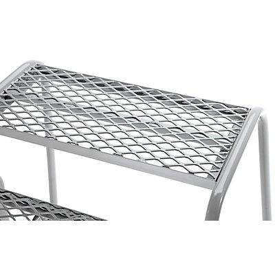 Sicherheits-Montagetritt mit Stahlgitter-Stufen - 5 Stufen, Plattformhöhe 1000 mm