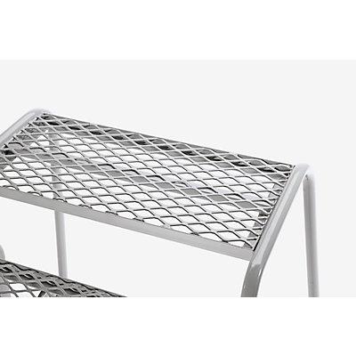 Sicherheits-Montagetritt mit Stahlgitter-Stufen - 2 Stufen, Plattformhöhe 400 mm