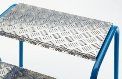 Sicherheits-Montagetritt mit Aluminium-Stufen, geriffelt - 2 Stufen, Plattformhöhe 400 mm