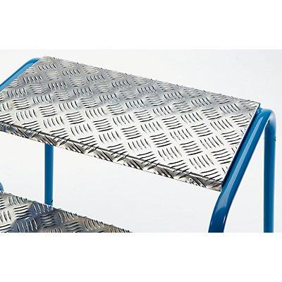 Sicherheits-Montagetritt mit Aluminium-Stufen, geriffelt - 4 Stufen, Plattformhöhe 800 mm