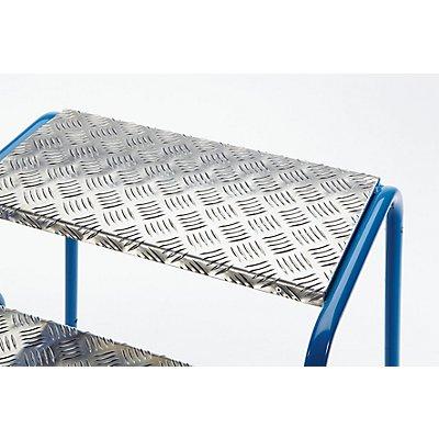 Sicherheits-Montagetritt mit Aluminium-Stufen, geriffelt - 5 Stufen, Plattformhöhe 1000 mm