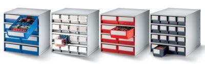 Schubladenmagazin, Gehäuse-Traglast 75 kg - HxBxT 395 x 380 x 300 mm, 8 Schubladen