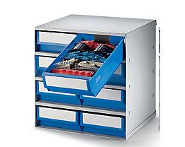 Schubladenmagazin, Gehäuse-Traglast 75 kg - HxBxT 395 x 380 x 300 mm, 8 Schubladen - Schubladen blau