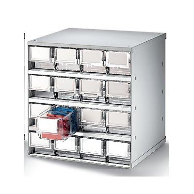 Lockweiler Schubladenmagazin, Gehäuse-Traglast 75 kg - HxBxT 395 x 380 x 300 mm, 16 Schubladen