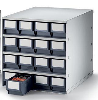 Schubladenmagazin, Gehäuse-Traglast 75 kg - HxBxT 395 x 380 x 400 mm, 16 Schubladen