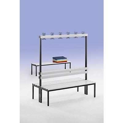 Wolf Garderobenbank, zweiseitig - Länge 2000 mm, Buchenleisten - 2 x 8 Doppelhaken
