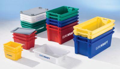 EUROKRAFT Drehstapelbehälter aus lebensmittelechtem Polypropylen - Inhalt 13 Liter, VE 4 Stk