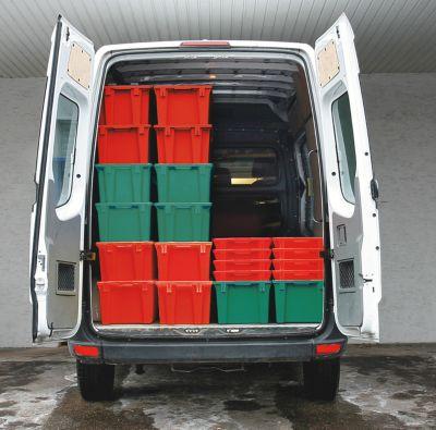 EUROKRAFT Drehstapelbehälter aus lebensmittelechtem Polypropylen - Inhalt 6 Liter, VE 4 Stk