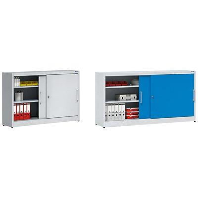EUROKRAFT Schiebetürschrank - mit Mitteltrennwand und 2 x 2 Fachböden, HxB 1000 x 2000 mm