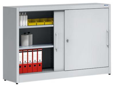 EUROKRAFT Schiebetürschrank - mit Mitteltrennwand und 2 x 2 Fachböden, HxB 1000 x 1500 mm