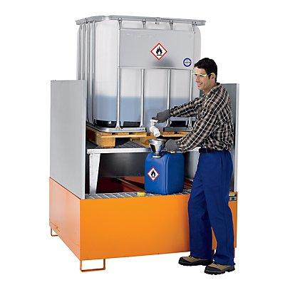 Stahl-Auffangwanne für Tankcontainer - LxBxH 1460 x 1460 x 1083 mm