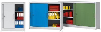 EUROKRAFT Schiebetürschrank - mit Mitteltrennwand und 2 x 2 Fachböden, HxB 1200 x 1500 mm