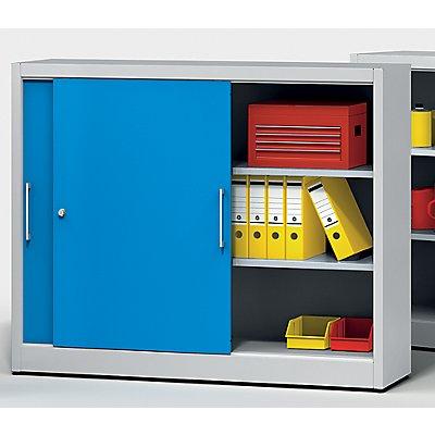 EUROKRAFT Schiebetürschrank - mit Mitteltrennwand und 2 x 2 Fachböden, HxB 1200 x 1500 mm - Tiefe 420 mm, Türfarbe lichtblau RAL 5012