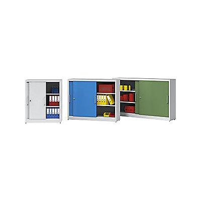 EUROKRAFT Schiebetürschrank - mit Mitteltrennwand und 2 x 2 Fachböden, HxB 1200 x 2000 mm
