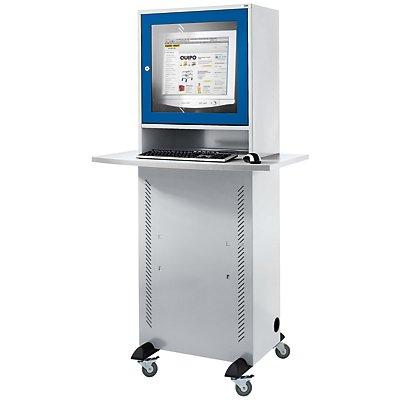 QUIPO Computerschrank - mit melaminharzbeschichteter Arbeitsplatte, lichtgrau/enzianblau
