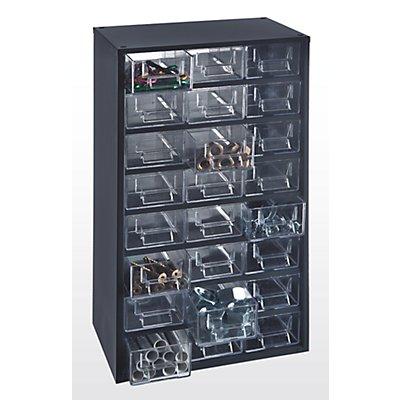 Bloc-tiroir à tiroirs translucides - h x l x p 507 x 271 x 173 mm, charge max. bloc 40 kg