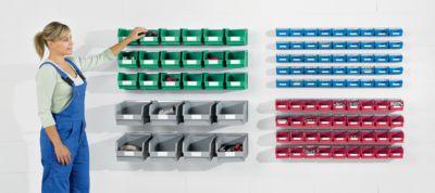 Einhängeschienen-Set mit Sichtlagerkästen - 4 Schienen, 36 Kästen