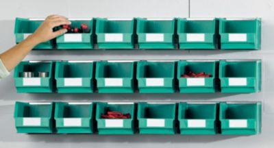 Einhängeschienen-Set mit Sichtlagerkästen - 3 Schienen, 18 Kästen