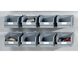Einhängeschienen-Set mit Sichtlagerkästen - 2 Schienen, 8 Kästen