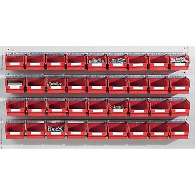 Plastipol-Scheu Einhängeschienen-Set mit Sichtlagerkästen - 4 Schienen, 36 Kästen - blau