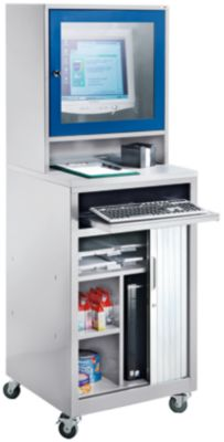 QUIPO Computer-Rollladenschrank - für Bildschirm bis 20″, fahrbar, lichtgrau/enzianblau