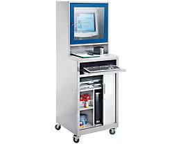 QUIPO Computer-Rollladenschrank - für Bildschirm bis 20″, fahrbar