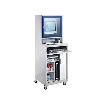QUIPO Computer-Rollladenschrank - für Bildschirm bis 20, fahrbar, lichtgrau/enzianblau