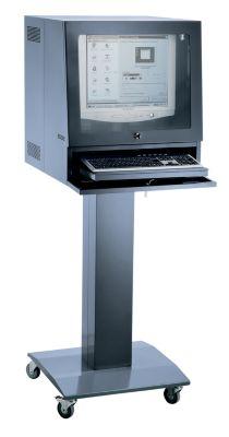 QUIPO Computersäule - für Bildschirm bis 20″, lichtgrau/enzianblau
