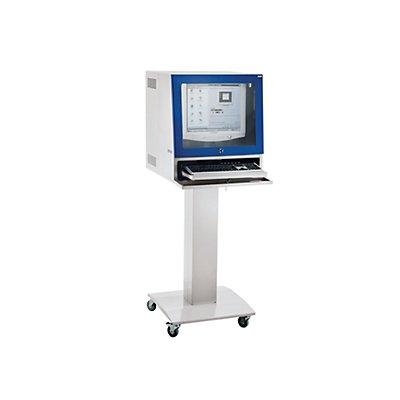 QUIPO Computersäule - für Bildschirm bis 20, lichtgrau/enzianblau