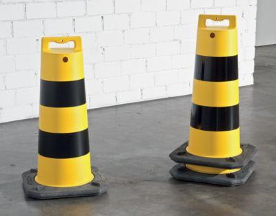 Kunststoff-Poller - Gesamthöhe 800 mm, Gewicht 6 kg - mit schwarz / gelber Warnmarkierung