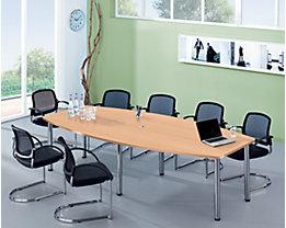 Table de conférence - variante de piétement pieds en tube rond, pour 10 personnes