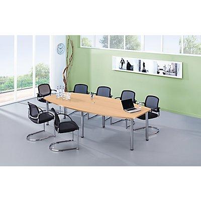 HAMMERBACHER Konferenztisch - Gestellvariante Rundrohrbeine, für 10 Personen