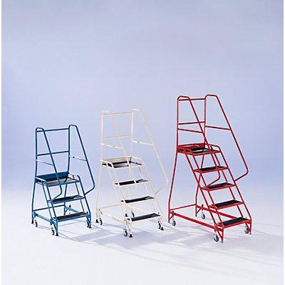 Sicherheitstreppe, fahrbar - mit beidseitigem Geländer, 5 Stufen